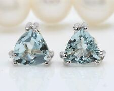 1.70CTW Natural Blue Aquamarine in 14K Solid White Gold Stud Earrings