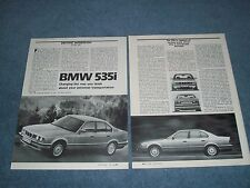 """1988 BMW 535i Vintage Driving Info Article """"Change The Way You Think...."""""""