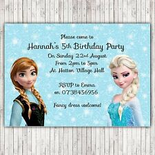Personalised birthday party invitations/thank you cartes frozen elsa anna EA2