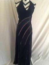 MON CHERI EVENING BLACK SATIN AND SHEER STRIPED HALTER DRESS SIZE 6