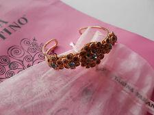 Tarina Tarantino VERY RARE Aquamarine Crystal Floral Cuff Bracelet