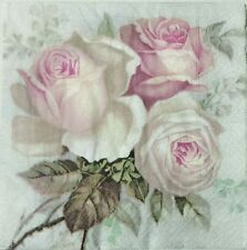 VINTAGE PINK ROSES 2 individual LUNCH SIZE paper napkins for decoupage 3-ply