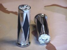 "Shovelhead, XL Chrome Diamond handlebar Grips With Eagle End Cap. 1"" Bars"