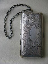 Antique Art Nouveau German Silver Copper Floral Coin Holder Chatellane Fob Purse