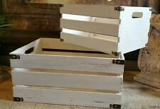 2 Whitewash Rustic wooden storage crates/Boxes vintage Shabby Chic Display 2 EUC