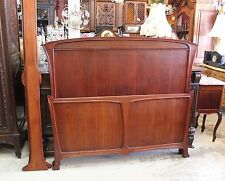 Beautiful Antique French Mahogany Art Nouveau Full / Queen Size Bed .