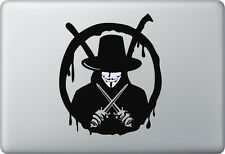 Apple MACBOOK AIR PRO + V per vendetta mascheraq + Adesivo STICKER SKIN DECAL Anonymous