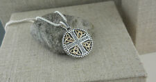 Sterling Silver White Sapphire Cross  with 10K Trinity Knots KEITH JACK