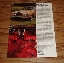 Original 1972 Rolls Royce Dealer Appointment Sales Sheet Brochure 72