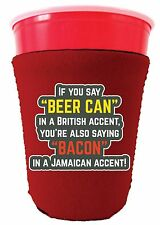 Coolie Junction Beer Can Bacon Accents Funny Solo Cup Coolie, Neoprene
