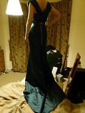 Roland Mouret emerald green fish tail satin bridal evening gown dress UK size 12