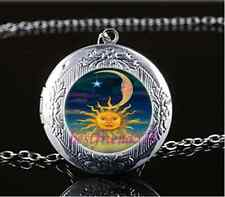 Sun Moon And Star Photo Cabochon Glass Tibet Silver Locket Pendant Necklace