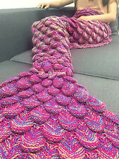 2016 Hand Crochet Knit Mermaid Tail Blanket Adult Quilt Sleeping Bag Xmas Gift