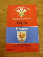 06/02/1982 Rugby Union: Wales v France [At Cardiff Arms Park] Official Programme