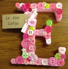 Personalised wooden Button Letter, painted, gift keepsake,Name, Colour