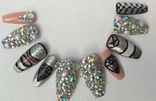 Hand Painted False Nails  Silver Nude Black Diamond Coffin Full Cover Tips