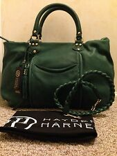 "$548 NWT HAYDEN HARNETT ""BIBLIO' GENUINE LEATHER SATCHELHANDBAG GREEN EX -LARGE"