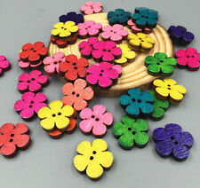 50PCS Wooden buttons Retro flowers Sewing Scrapbooking Mixed Colors buttons19mm