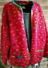 TOSHY Artesanias Made in Bolivia Cardigan Sweater Heavy Wool Colorful