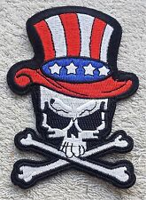 SKULL AMERICAN FLAG HAT PATCH Uncle Sam Cloth Badge Biker Jacket Iron Sew USA