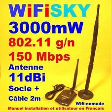 Carte Wifi Wifisky 3000mW g/n 150 Mbps antenne 11dBi + socle