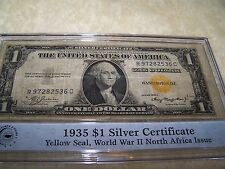 1935 A $1 DOLLAR BILL SILVER CERTIFICATE WWII WW2 YELLOW GOLD SEAL
