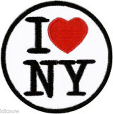 "I Love NY Embroidered Patch 6cm Dia (2 1/2"") approx"