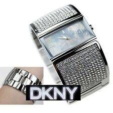 DKNY WOMEN'S SILVER BANGLE LUXURY CRYSTALS LOGO WATCH NY8041