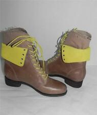 Cole Haan Brielle Chukka Beige Yellow Lace Up Ankle Distressed Leather Boots 6