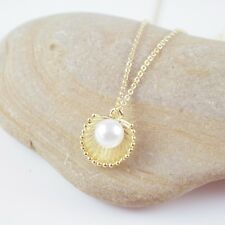 Dainty Gold Plated Pearl in Sea Shell Chain Pendant Necklace Gift boxed