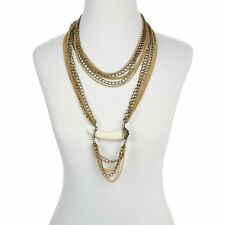 "UNIVERSAL VAULT MULTI CHAIN HORN 20"" DROP GOLDTONE NECKLACE  HSN $89 SOLD OUT"