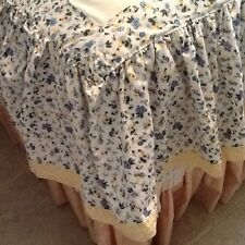 Laura Ashley Priory Full Bed Skirt Blue Yellow Floral Cottage Chic