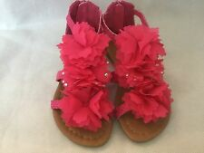 GORGEOUS GIRLS SUMMER PINK AND TURQUOISE  FLOWER SANDALS SHOES SIZES 4-12