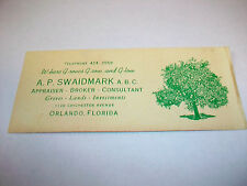 Vintage Orange Groves Business Card A.P. Swaidmark Orlando FL ephemera