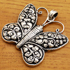 SS16 Nepalese Artisan Handmade Repousse Sterling Silver 925 Butterfly Pendant