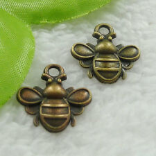Free Ship 100 pcs bronze plated bee charms 22x20mm #1021