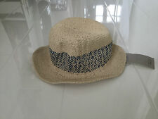 NEW ZARA KIDS LIGHTWEIGHT SUMMER WOVEN HAT-IVORY WITH BLUE WOVEN BAND -SMALL