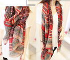 Long Big Soft Cotton Voile Scarf Shawl Wrap Lady Women's Fashion red ONE HS