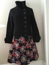 Desigual Women's Black Wool Blend  Coat With Embroidery Size 40/ M