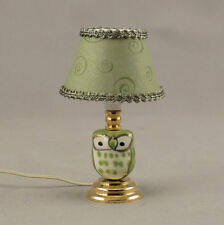 Dollhouse Miniature Owl Ceramic Table Lamp Lighted Light by miniholiday Green