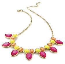 Neon Pink Orange Yellow Statement Gold Necklace AJ28224