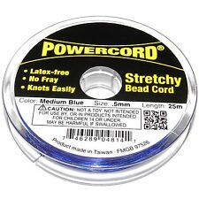 WC220 Powercord Medium Blue 0.5mm Elastic Jewelry Beading Stretch Cord 25-Meter