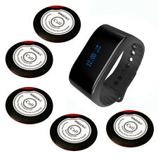 SINGCALL Wireless Calling System of 5 Single Button Bell and 1 Waterpoof Watch