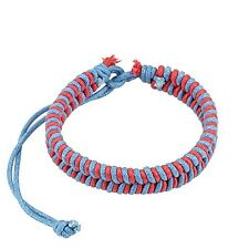 Pink and Blue Fishtail Braided Leather Drawstrings Bracelet One Size Fits Most