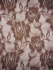 Mocha Brown Rose Flower Stretch Lace Fabric Q963 MCH