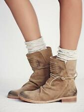 New Free People Distressed Tan Leather Cambridge Wrap Ankle Boots Eu 37 US 6.5 7