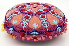 """Round 16"""" Indian Pillowcase Throw Embroidered Decorative Cushion Pillow Cover"""