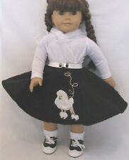 """Lovvbugg Black Poodle Skirt Set for 18"""" American Girl Doll Clothes Wow Selection"""