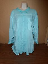 New Plus Size Blouse Size 4 Maurices Top Button Down Casual Career 4X Sea Green