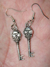 5 Pairs SKELETON SKULL HEAD & KEY EARRINGS GOTHIC Silver Ear Wires Lot of 5 NEW